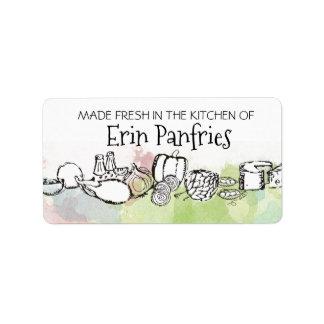 Etiqueta aguarela do vegetal de fruta da cozinha de