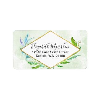 Etiqueta Aguarela elegante da folha das hortaliças