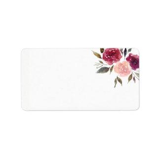 Etiqueta Aguarela rústica Borgonha Marsala | floral