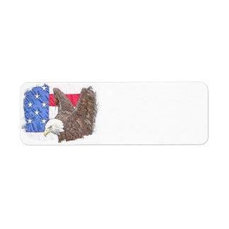 Etiqueta Águia americana com a bandeira americana