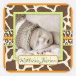 Etiqueta alaranjada da foto do menino do safari adesivo