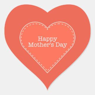Etiqueta alaranjada do coração do dia das mães