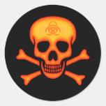 Etiqueta alaranjada do crânio do Biohazard Adesivos Redondos