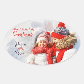 Etiqueta alegre do Natal da foto de família do