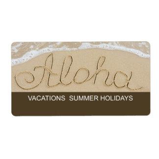 Etiqueta Aloha palavra da areia