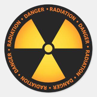 Etiqueta amarela/alaranjada do símbolo da radiação adesivo