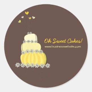 etiqueta amarela do negócio do bolo de casamento adesivo