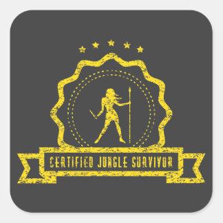 Etiqueta amarela do selo da selva adesivo quadrado