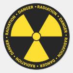 Etiqueta amarela do símbolo da radiação adesivo em formato redondo