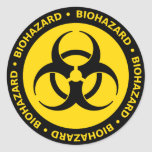 Etiqueta amarela do símbolo do Biohazard Adesivos Em Formato Redondos