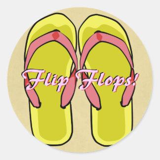 Etiqueta amarela dos flip-flops adesivo redondo