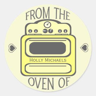 Etiqueta amarela retro personalizada do forno adesivos em formato redondos