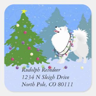 Etiqueta americana do retorno do endereço do Natal Adesivo Quadrado