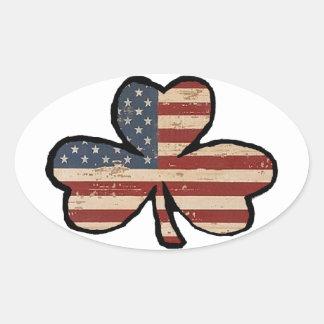 Etiqueta americana do trevo adesivo oval