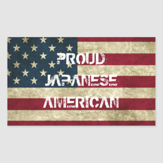 Etiqueta americana japonesa orgulhosa adesivo retangular