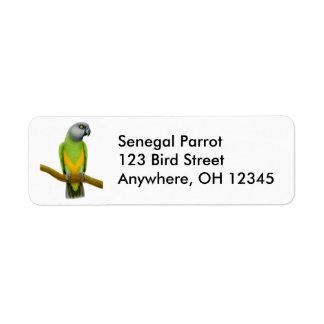 Etiqueta amigável do papagaio de Senegal