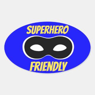 Etiqueta amigável do super-herói azul