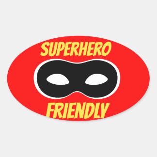 Etiqueta amigável do super-herói vermelho