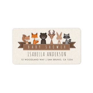 Etiqueta Amigos do chá de fraldas dos animais da floresta