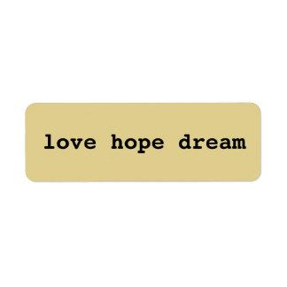 Etiqueta Amor, esperança, artesanato ideal dos meios mistos