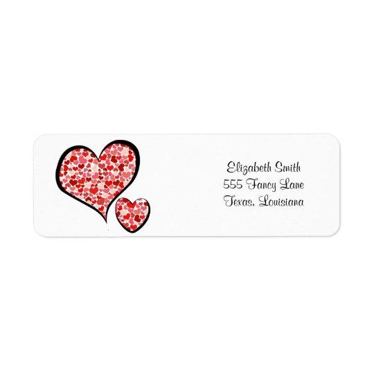 Etiqueta Amor, romance, corações - branco vermelho