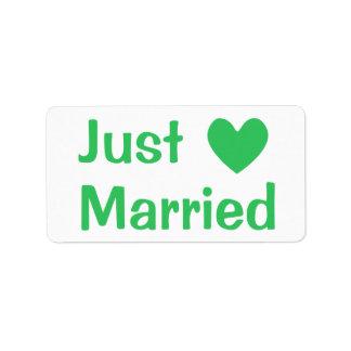 Etiqueta Amor verde & branco do coração do recem casados -