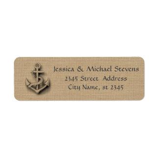 Etiqueta Âncora náutica do casamento rústico chique de