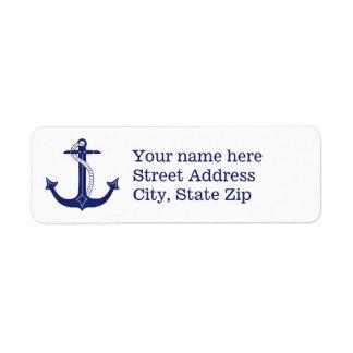 Etiqueta Âncora náutica dos azuis marinhos