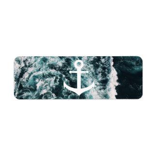 Etiqueta Âncora náutica no fundo da foto do oceano