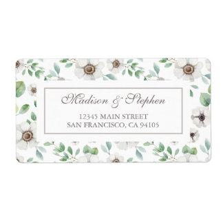Etiqueta Anêmona branca floral da aguarela   - casamento