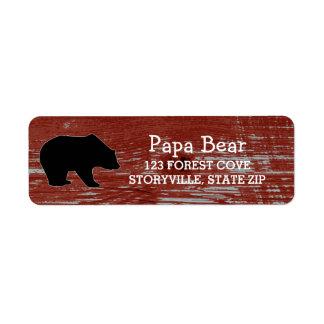 Etiqueta Animais selvagens de madeira da natureza do urso