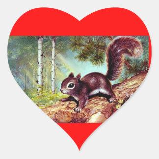 Etiqueta antiga velha do coração do esquilo do