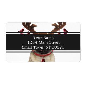 Etiqueta Antlers do Pug - pug do Natal - Feliz Natal