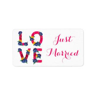 Etiqueta Anúncio cor-de-rosa floral do casamento do recem