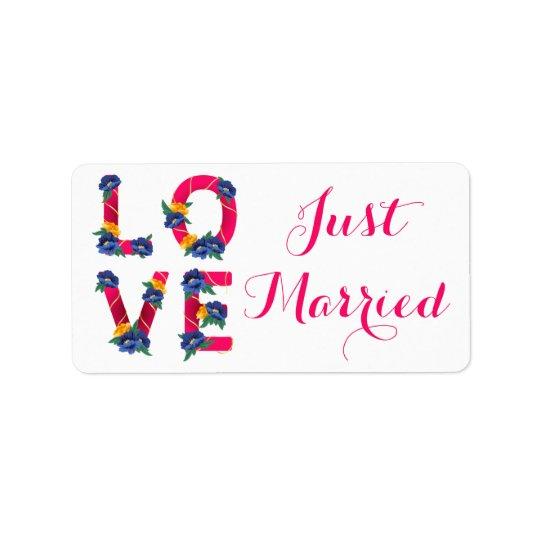 Etiqueta Anúncio floral cor-de-rosa do casamento do amor do