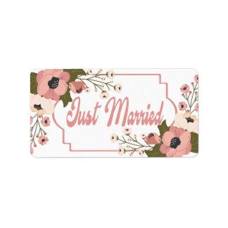 Etiqueta Anúncio floral cor-de-rosa do casamento do recem