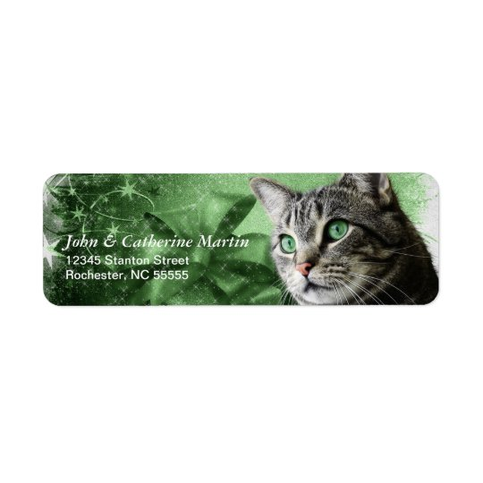 Etiqueta APAL - Gato de gato malhado de prata do Natal