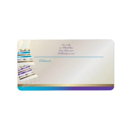 Etiqueta Aqua de PixDezines do ✡/Tallits roxo