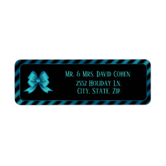 Etiqueta Arco azul metálico & listras diagonais
