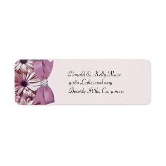 Etiqueta Arco das margaridas & casamento cor-de-rosa da