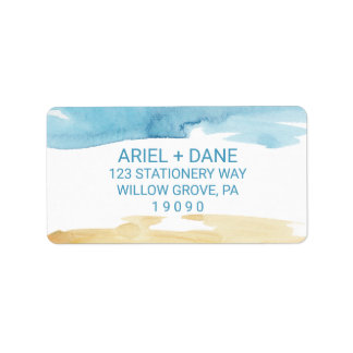 Etiqueta Areia da aguarela e casamento do mar