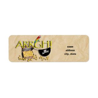 Etiqueta ARRGH! Com tesouro do pirata, remendo do papagaio