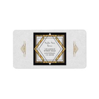 Etiqueta Art deco branco do grande ouro de Gatsby que
