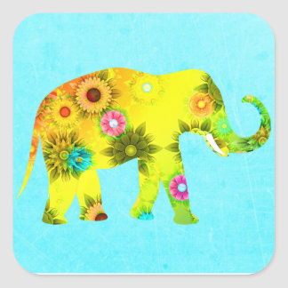 Etiqueta artística colorida bonito do elefante