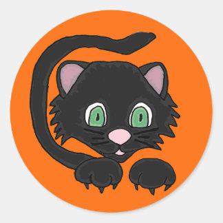 Etiqueta artística do gato AP preto Adesivos Em Formato Redondos