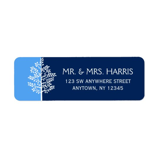Etiqueta Árvore azul do marinho do bar Mitzvah da vida