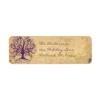 Etiqueta Árvore do redemoinho da ameixa no endereço do