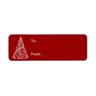 Etiqueta Árvore do White Christmas no Tag vermelho do