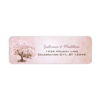 Etiqueta Árvore pálida simplesmente cor-de-rosa da folha do