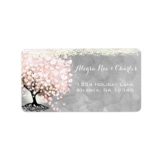 Etiqueta Árvore rosa pálido da folha do coração na aguarela